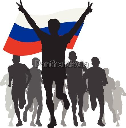 sieger mit russland flagge im ziel
