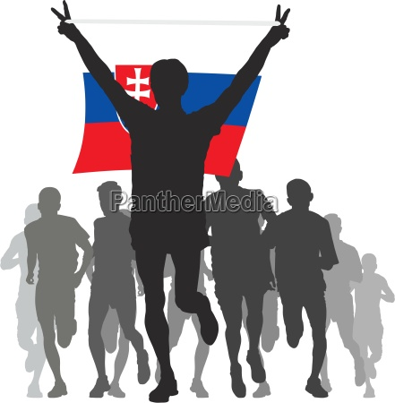 winner with the slovakia flag at