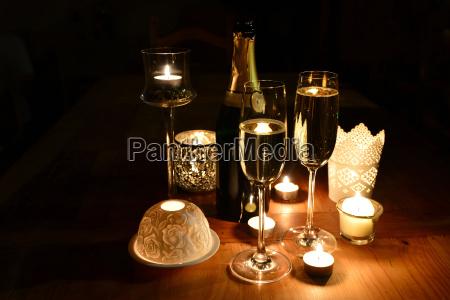 sekt silvester candle light