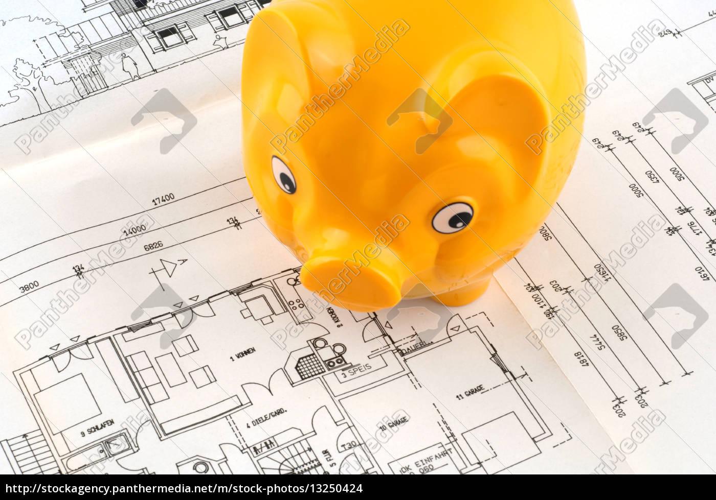 Lizenzfreies Foto 13250424 - Sparen für den Hausbau Architect s plan