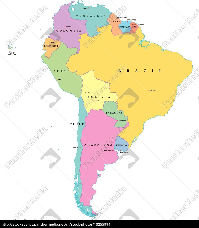 Sudamerika Einzel Staaten Karte Stock Photo 13255994