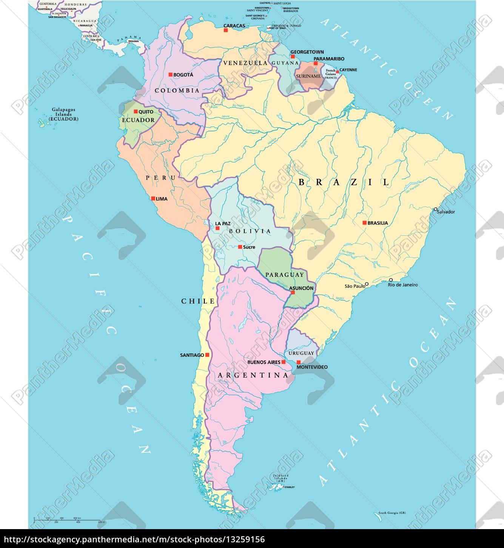 Südamerika Karte Ohne Beschriftung.Lizenzfreie Vektorgrafik 13259156 Südamerika Einzelstaaten Karte
