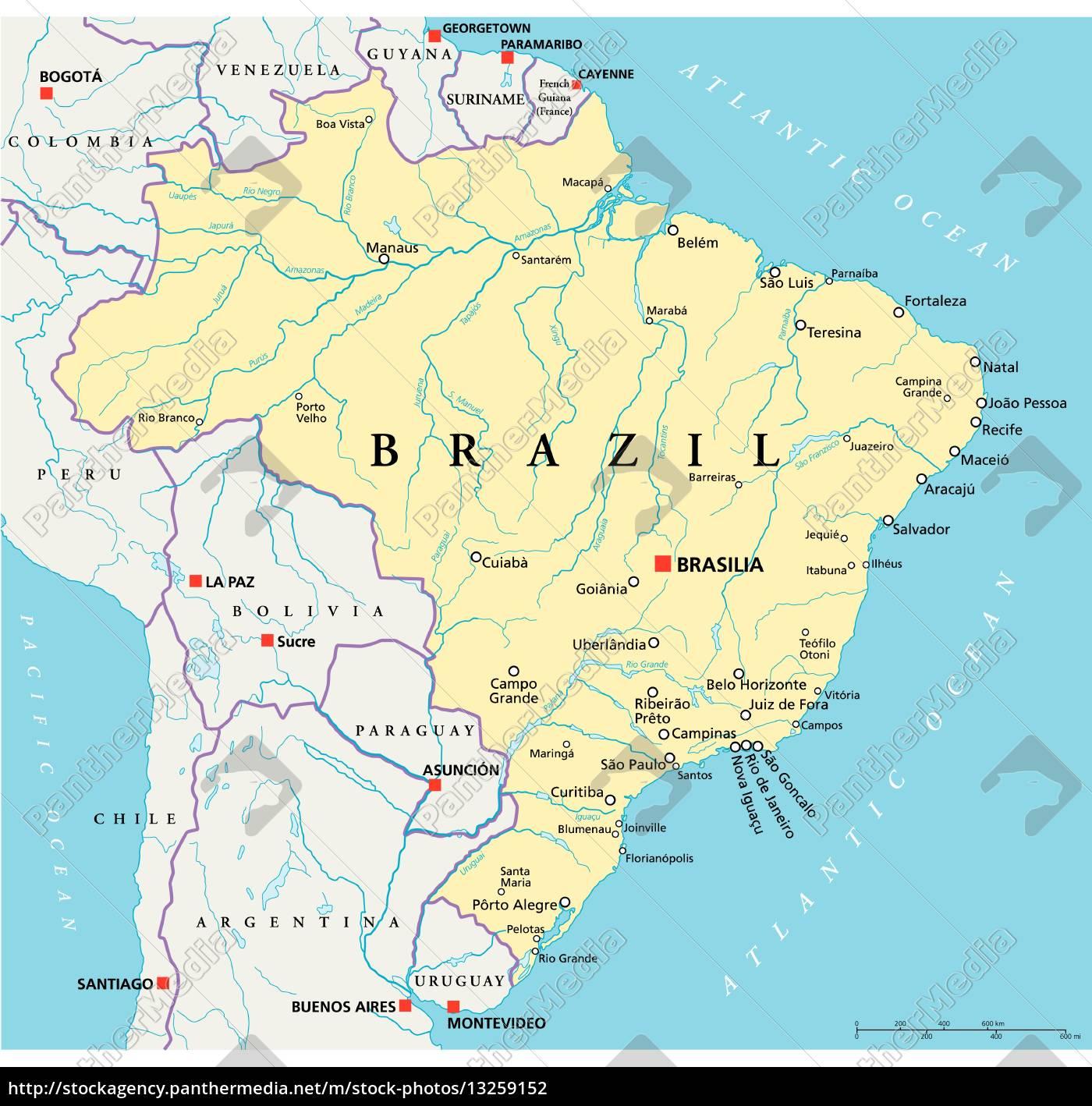 brasilien political map - Lizenzfreies Foto - #13259152 ...