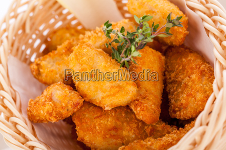 fresh chicken flail and nuggets golden
