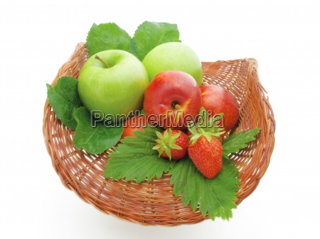 fruit in a basket on a