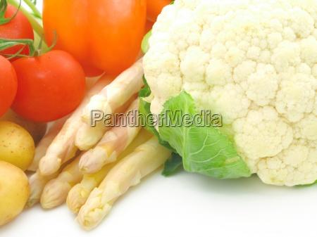 fresh bright vegetables on white