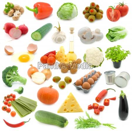 set of fresh vegetables over white