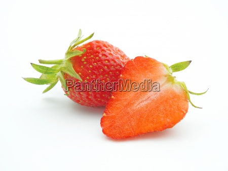 fresh ripe strawberries isolated on white