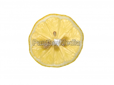plate lemon on white background