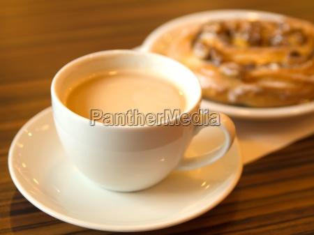 morning coffee and cinnamon roll