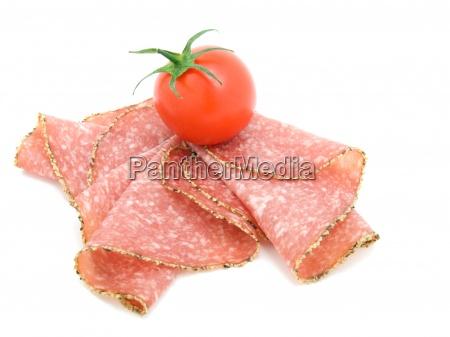 pepper salami sausage with tomato smoked