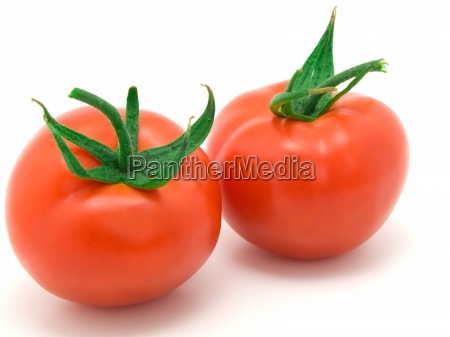 two red tomato isolated on white