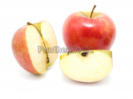 fresh red apples isolated on white