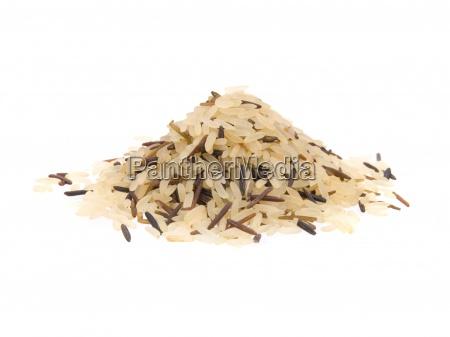 closeup of long rice mixed with