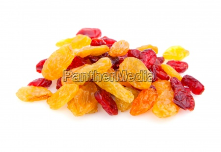 a pile of raisins isolated on