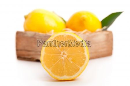 cross section of yellow lemon isolated