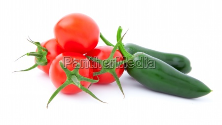 jalapeno pepper and tomatoesisolated on white
