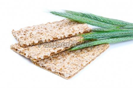 crispbread with ears and wheat grain