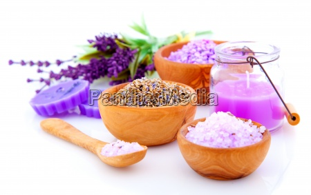 dry lavender herbs and salt isolated