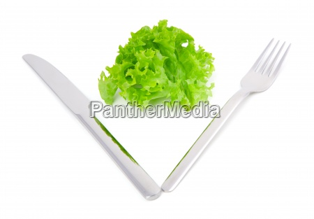 green leaves lettuce with fork and
