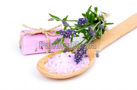 lavender bath salt soap and lavender