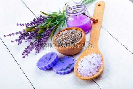 dry lavender flowers with napkin on