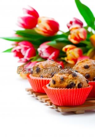 muffins mit tulpen auf weissem hintergrund