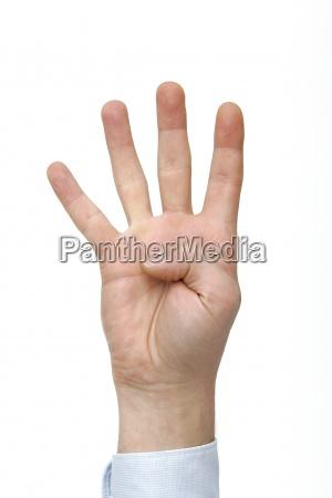 hand finger zaehlen zahl vier geste