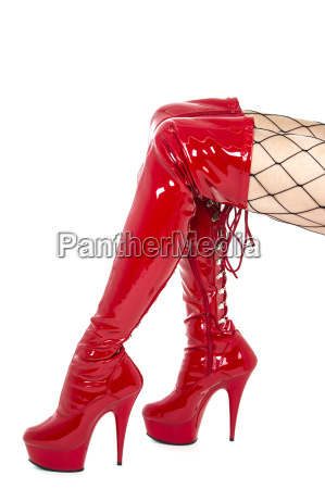 legs in fishnet stockings and red