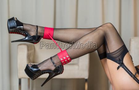 legs with stockings garter belt ankle