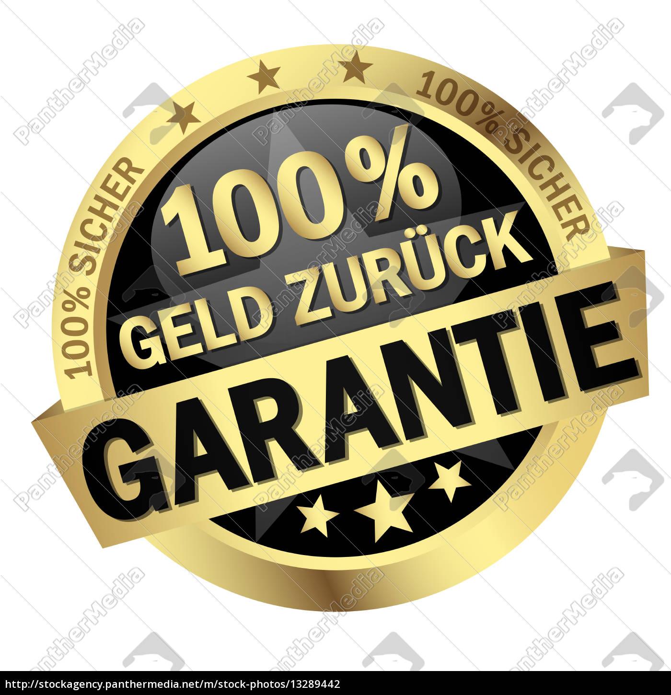 button, -, 100%, geld, zurück, garantie - 13289442