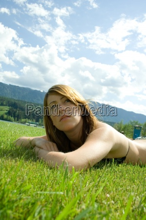 woman blue female mountains green person