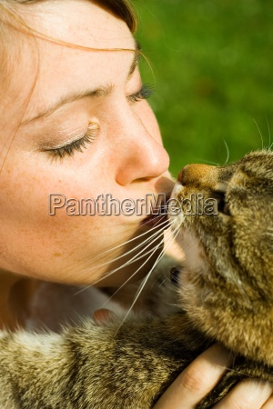 woman female garden animal pet mammal