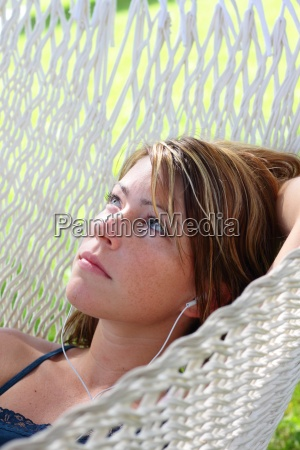woman music relaxation garden holiday vacation