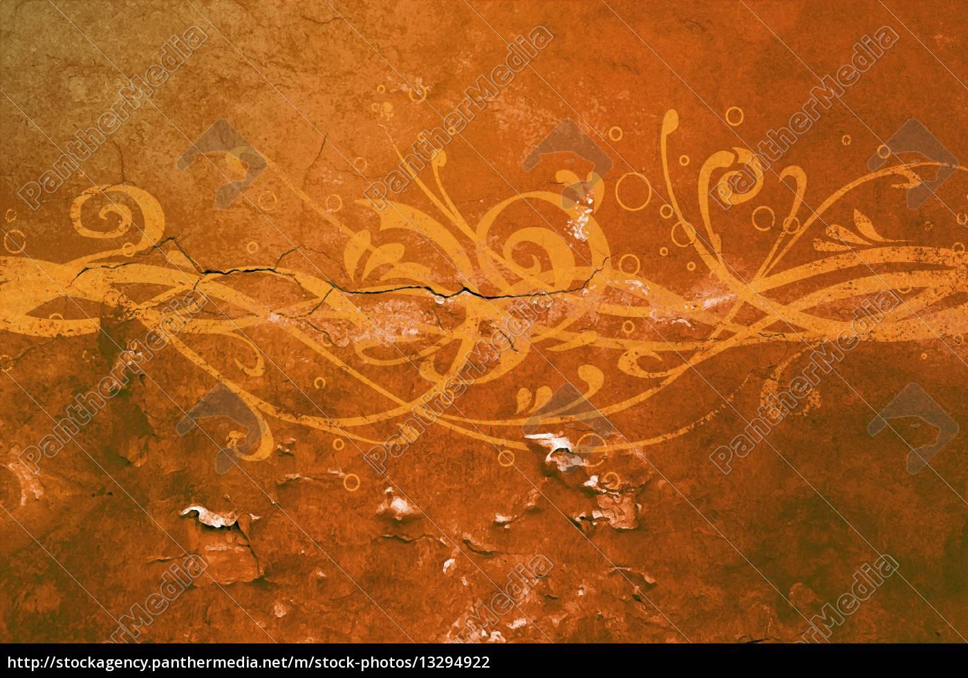 Mauer Ornament Wand Dirty Putz Kunst Orange Muster Stock Photo
