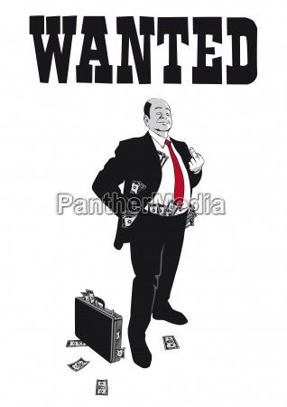 der arrogante banker zeigt den mittelfinger