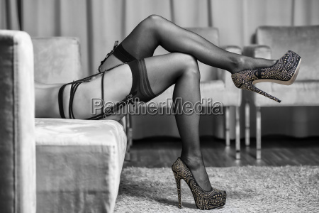 legs with stockings garter belt and