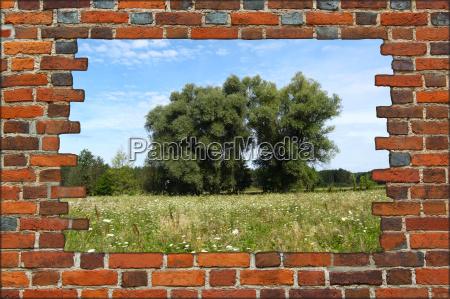 feld sommer sommerlich zerbrochen mai ziegelmauer