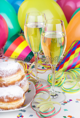 champagne sparkling wine glasses donuts fritters