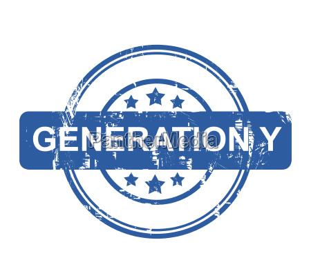 generation y geschaeftskonzept stempel