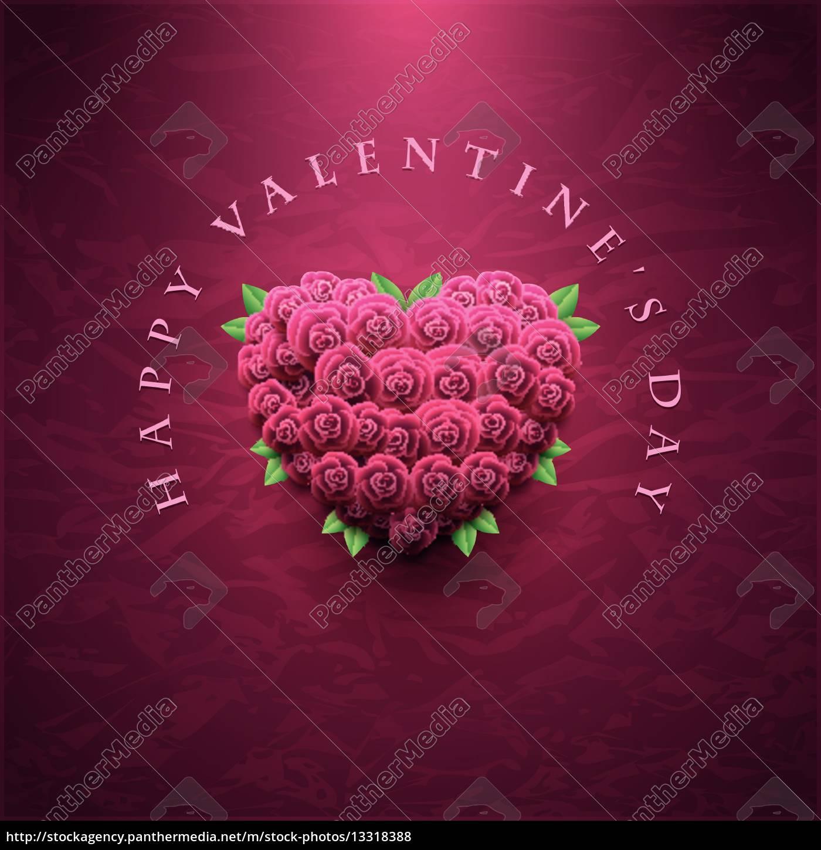 Lizenzfreie Vektorgrafik 13318388   Valentinstag Karte Mit Rosen