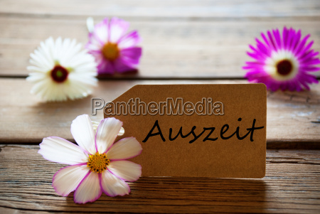 label with german text auszeit with