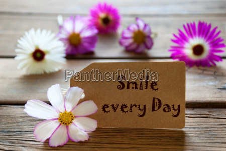label with life quote smile every