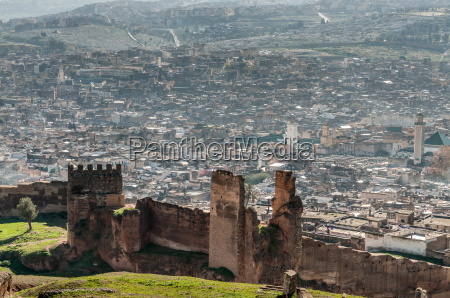view over the ancient medina of