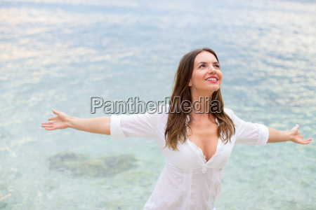 woman relaxing at the beach with
