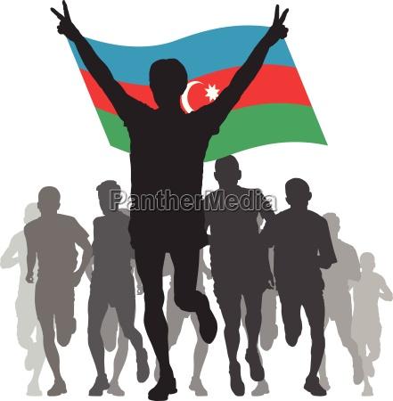 winner with the azerbaijan flag