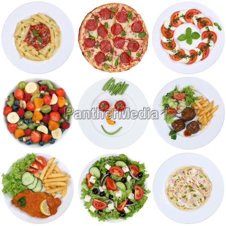 gerichte essen sammlung mit pizza salat