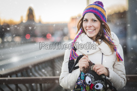 winter woman with colorfull hat in