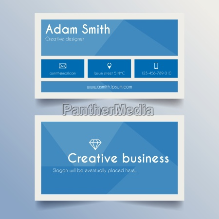 business card template blue and
