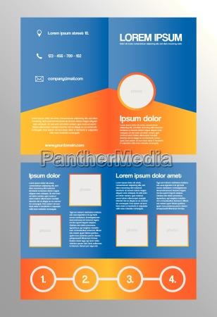 bifold business brochure template orange